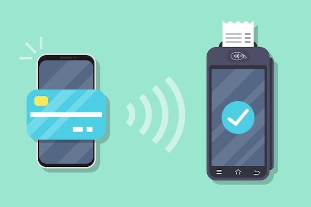 Successful payment operation. pos terminal confirms the payment by smartphone. smartphone with mobile payment