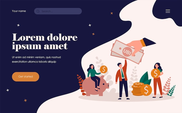 Successful people getting benefits, investing and saving money. flat vector illustration for income, charity, investment, finance, tax, social equality concept