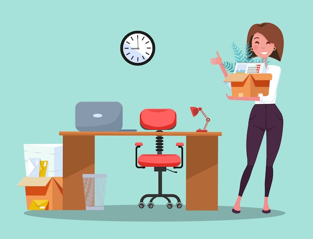 Successful smiling young business woman holding cardboard box with work stuff at a new workplace with laptop and papers. new job concept. office workstation. flat cartoon illustration