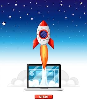 成功したスタートアップビジネスコンセプト。 rocket start搭載のラップトップ。ビジネスプロジェクト開発、ウェブサイトプロモーション。空を背景にスタイルのイラスト。ウェブサイトページとモバイルアプリ