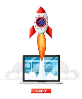 成功したスタートアップビジネスコンセプト。 rocket start搭載のラップトップ。ビジネスプロジェクト開発、ウェブサイトプロモーション。白い背景の上のスタイルのイラスト。ウェブサイトページとモバイルアプリ