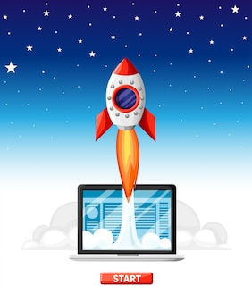 Successful startup business concept. laptop with rocket start. business project development, website promotion.  illustration in  style on sky background. website page and mobile app