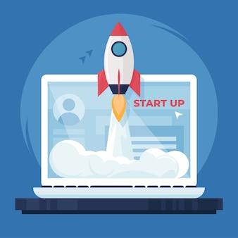 성공적인 시작 비즈니스 개념입니다. 노트북, 일러스트레이션에서 로켓 발사