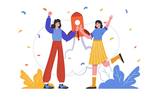 Successful startup concept. women start new business project together, people scene isolated. successful strategy, innovation, entrepreneurship, leadership. vector illustration in flat minimal design