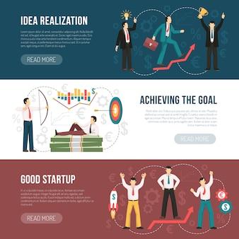 Successful startup flat horizontal banners set