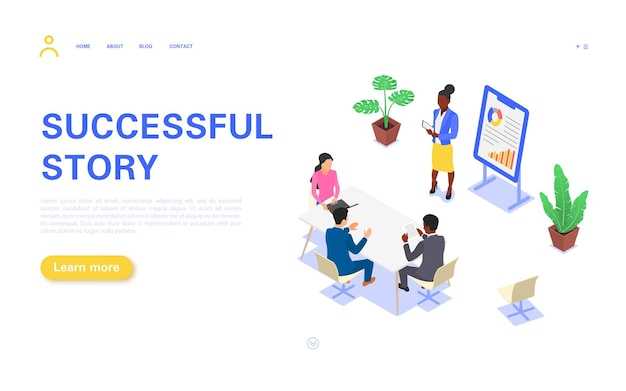 Successful story landing page