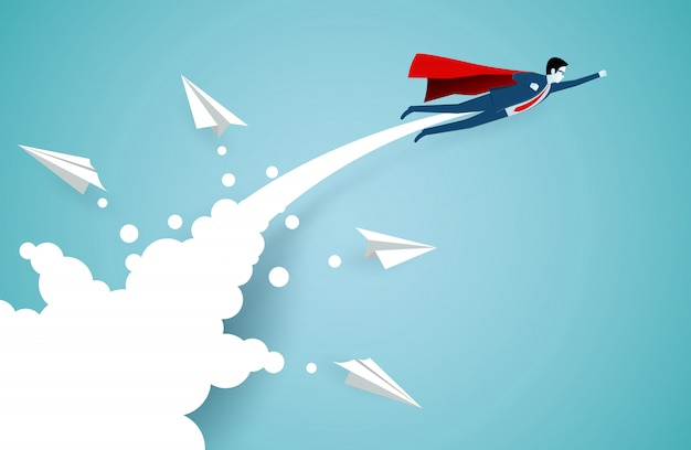 Successful superhero businessmen are flying up into the sky separated from the white paper airplane