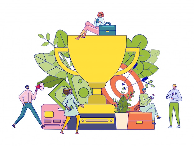 Successful team concept, award winning tiny people with giant trophy prize, illustration