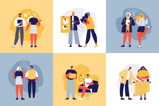 동료와 아이디어 일러스트와 함께 성공적인 팀 디자인 컨셉 무료 벡터