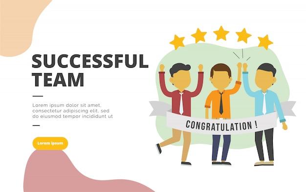 Successful team flat design banner illustration