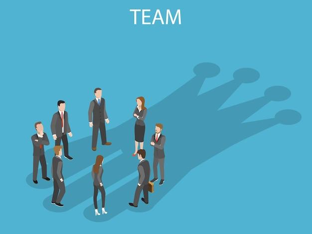 成功したチームフラットアイソメトリックコンセプト。ビジネスチームのメンバーは、彼らの影がチェスの王冠を作っている状態で輪になっています。