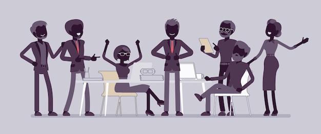 사무실 그림에서 성공적인 팀