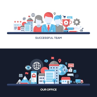 Successful team, our office concepts compositions set