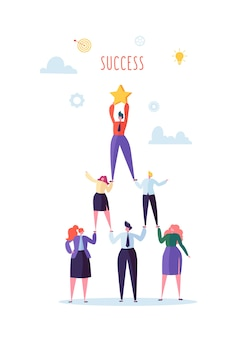 성공적인 팀 작업 개념. 비즈니스 사람들의 피라미드. 리더는 상단에 스타를 들고. 리더십, 팀워크 및 목표 달성.