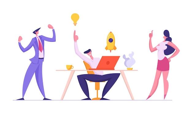 ビジネスマンのイラストのグループとの成功したチームワークの概念