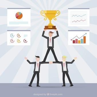 Successful teamwork concept