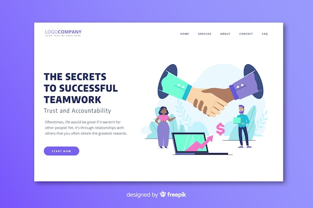 Successful teamwork landing page template