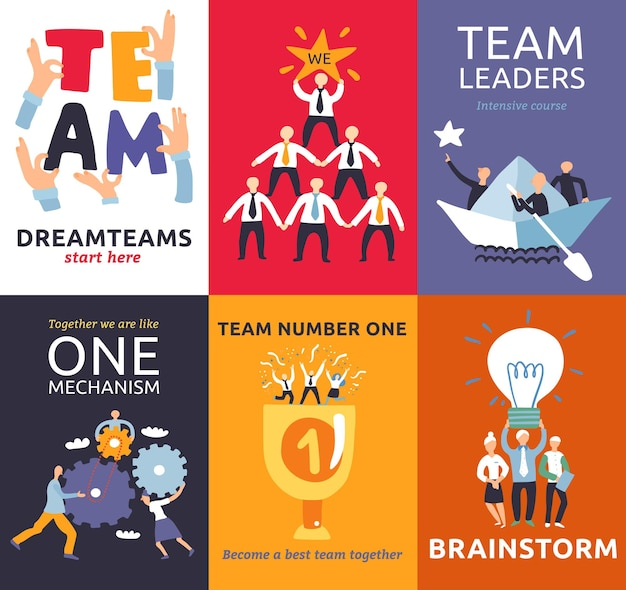 Successful teamwork symbols 8 colorful cards mini banners with brainstorm matching cogwheels project leaders  isolated vector illustration