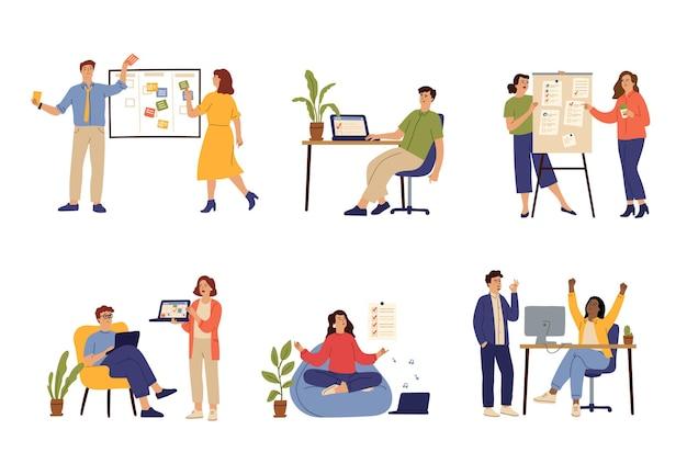 성공적인 시간 관리. 관리자 일정, 효과적인 사무 정리. 작업 책상, 의제 계획자 및 생산적인 작업자 벡터 집합입니다. 일러스트레이션 관리 시간, 사무실에서 성공 비즈니스 작업