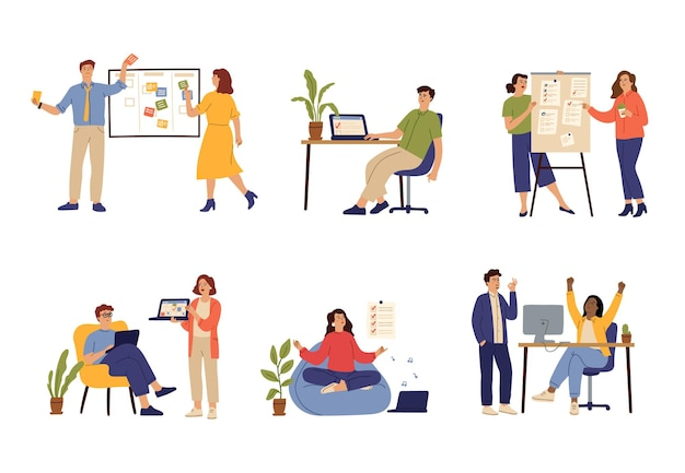 Successful time management. manager schedule, effective office work organizing. task desk, agenda planner and productive worker vector set. illustration management time, success business job in office