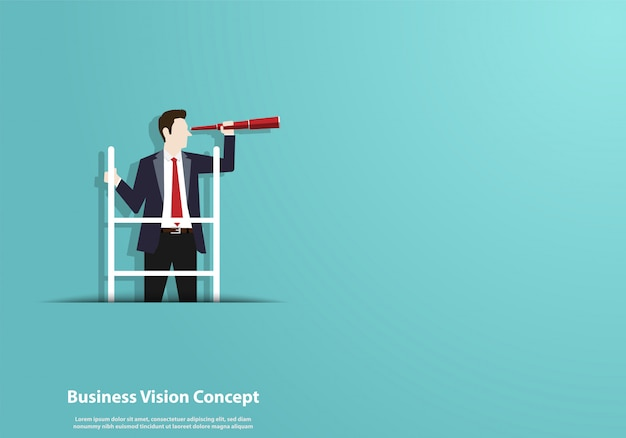 Successful vision with character of businessman and telescope