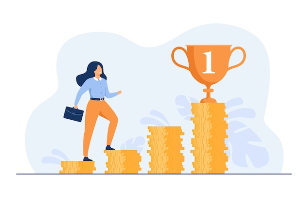 Successful woman climbing stairs from stacks of coins flat illustration.