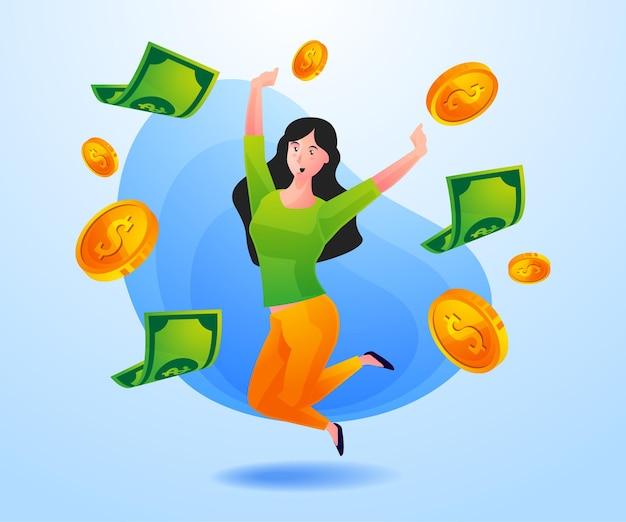 Успешная женщина зарабатывает много денег
