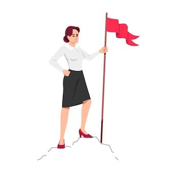 山頂セミフラットrgbカラーベクトルイラストで成功した女性。プロジェクトの完了をマークするサラリーマンは、白い背景の上の漫画のキャラクターを分離しました。目標達成コンセプト