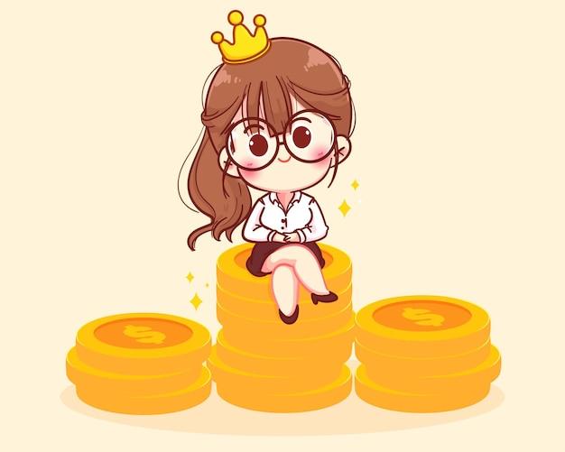 Успешная женщина сидит из стопки монет персонажей карикатуры