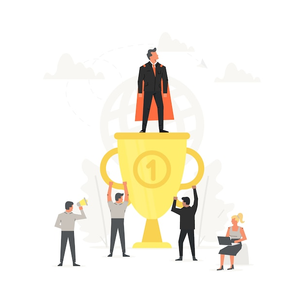 Successful and young businessman on big gold trophy. super man standing on large cup. people are happy for winner. startup business illustration.