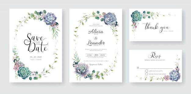 多肉植物と枝の結婚式の招待カード