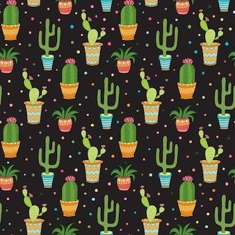 多肉植物とサボテンのシームレスなパターン。暗い背景に壷の漫画ベクトル花