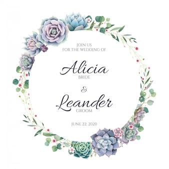 白い背景の上の多肉植物と緑の結婚式の招待カード。