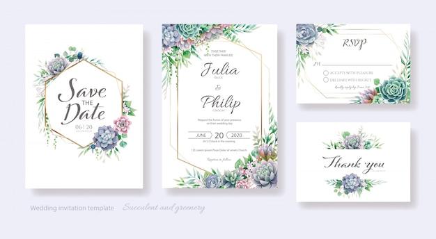 多肉植物と緑の結婚式の招待状、日付を保存、ありがとう、rsvpカードテンプレート。
