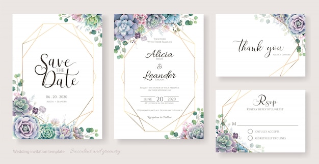 Succulent and branches wedding invitation card