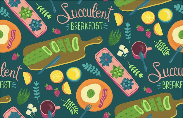 Succulent breakfast seamless pattern