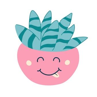 Сочный кактус в горшке. милое счастливое забавное растение. декоративное цветочное растение. цветок с милым личиком. векторная иллюстрация плоский мультяшный каваи на белом фоне.