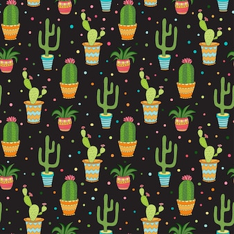 Succulent and cactus seamless pattern. cartoon vector flowers in pots on dark background