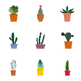 Succulent icon set. flat set of 9 succulent vector icons
