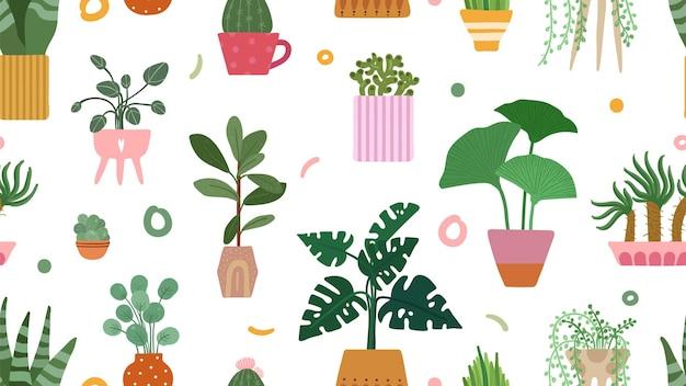 즙이 많은 패턴. 냄비 배경에 홈 식물입니다. 낙서 선인장 야자수 절연입니다. 스칸디나비아 꽃 정원 벡터 원활한 텍스처입니다. 꽃과 꽃, 식물원 원활한 그림