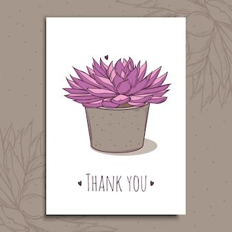 Succulent plant in concrete pot. hand drawn  illustration on postcard template.