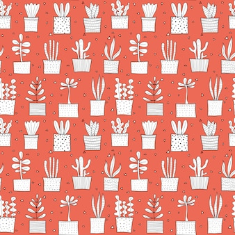 Succulent plant seamless pattern background.