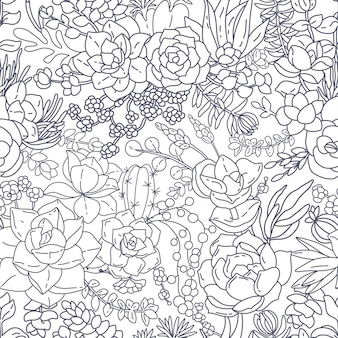 Succulent seamless pattern