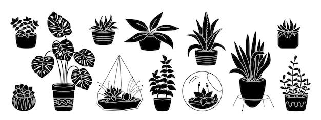 Суккуленты и растения, декоративная керамика в горшке с плоским силуэтом. черный глиф мультфильм дом крытый цветок. комнатные растения, кактусы, монстера, алоэ, вазон. изолированная иллюстрация