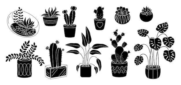 Суккуленты и растения, декоративная керамика в горшке с плоским силуэтом. черный глиф мультфильм интерьер крытый цветок. комнатные растения, кактус монстера вазон. изолированная иллюстрация