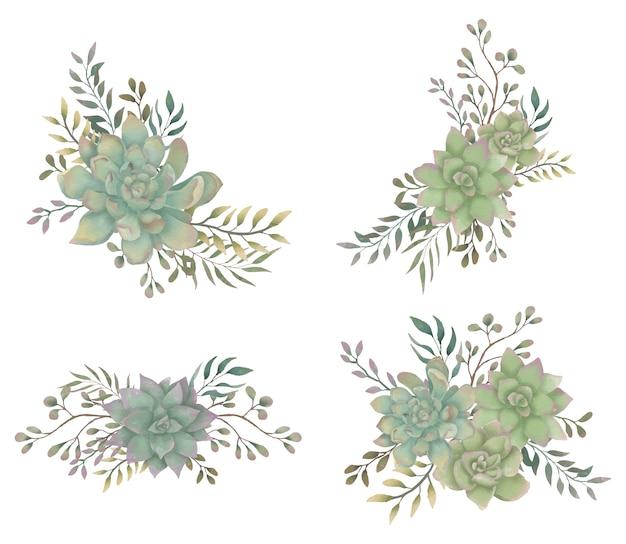 다육 식물 꽃 꽃다발 수채화 프리미엄 벡터