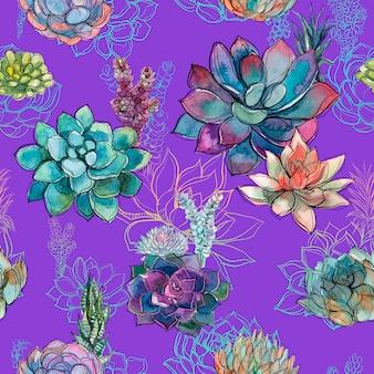 紫色の背景にsucculentsとシームレスなパターン。グラフィックス。水彩。