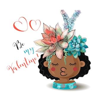 ハッピーバレンタインデー。花のsucculentsと女の子。水彩。