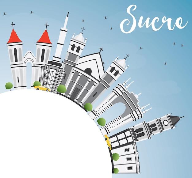 Горизонт сукре с серыми зданиями, голубым небом и копией пространства. векторные иллюстрации. деловые поездки и концепция туризма с исторической архитектурой. изображение для презентационного баннера и веб-сайта.