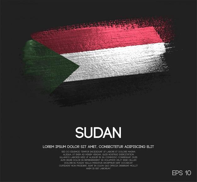 Sudan flag made of glitter sparkle brush paint